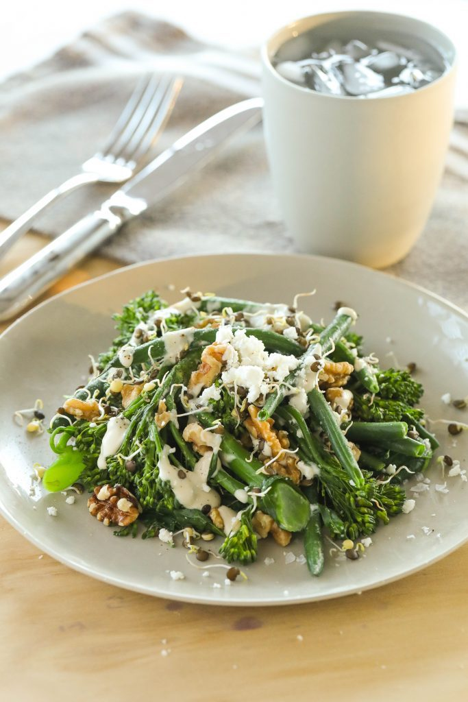 Steamed Greens and Lentils with Tahini Dressings