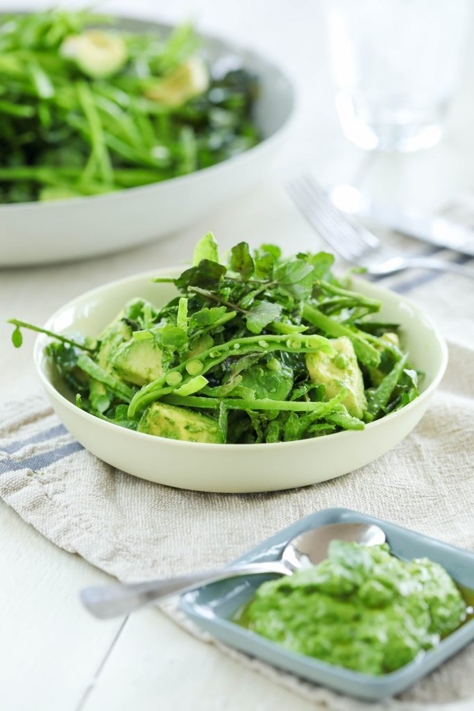 Watercress Avocado Snowpeas with a Chunky Basil Pesto